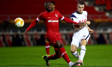 Gareth Bale (right) in action for Tottenham during their Europa League defeat at Royal Antwerp on Thursday.