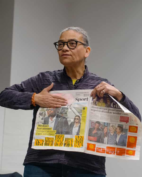 Lubaina Himid presents her work to Guardian staff.