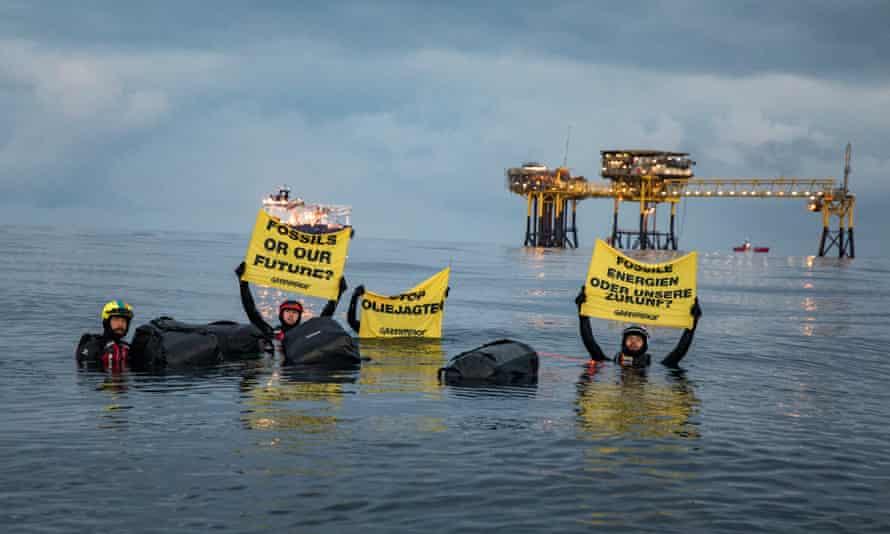 Greenpeace activists protest against new oil and gas exploration in Denmark's Dan oilfield in the North Sea last summer.