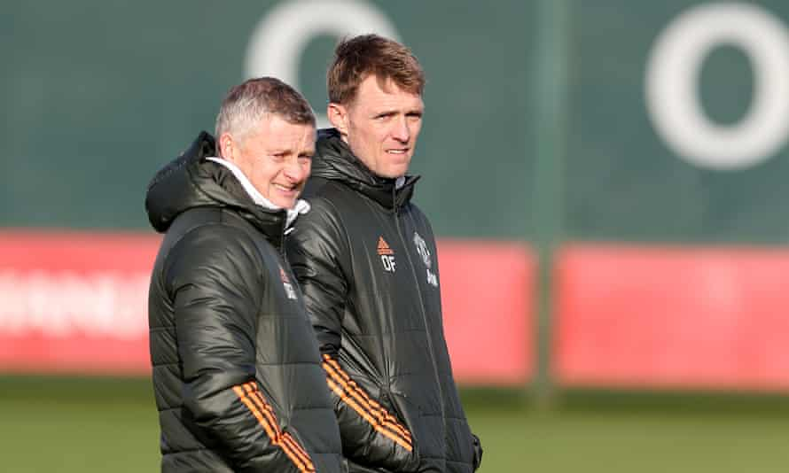 Darren Fletcher alongside Ole Gunnar Solskjær during a Manchester United training session in January.  The former midfielder has been promoted from first team coach to Technical Director