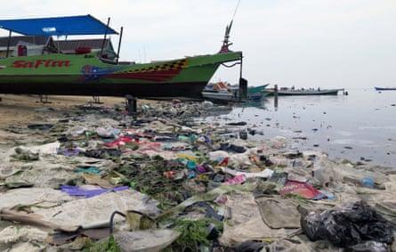 Debris lining the beach in Sulawesi, Indonesia.