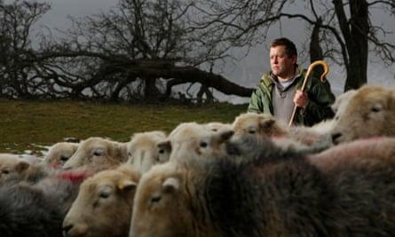 James Rebanks on his farm in Penruddock, near Penrith, Cumbria.