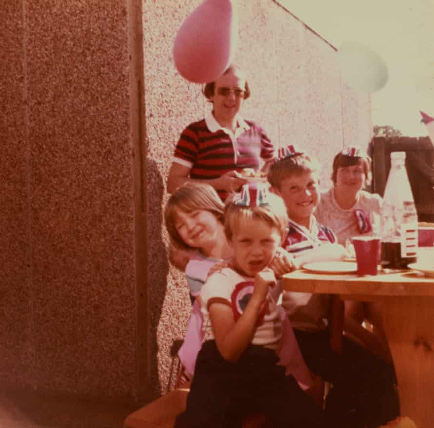 Lynsey Hanley( at front behind boy) with family and neighbours at a street party in Chelmsley Wood to celebrate the royal wedding, July 1981