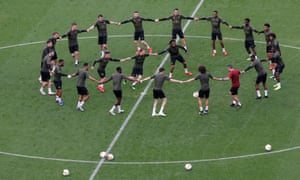 Arsenal train before Wednesday's Europa League final against Chelsea in Baku's Olympic Stadium.