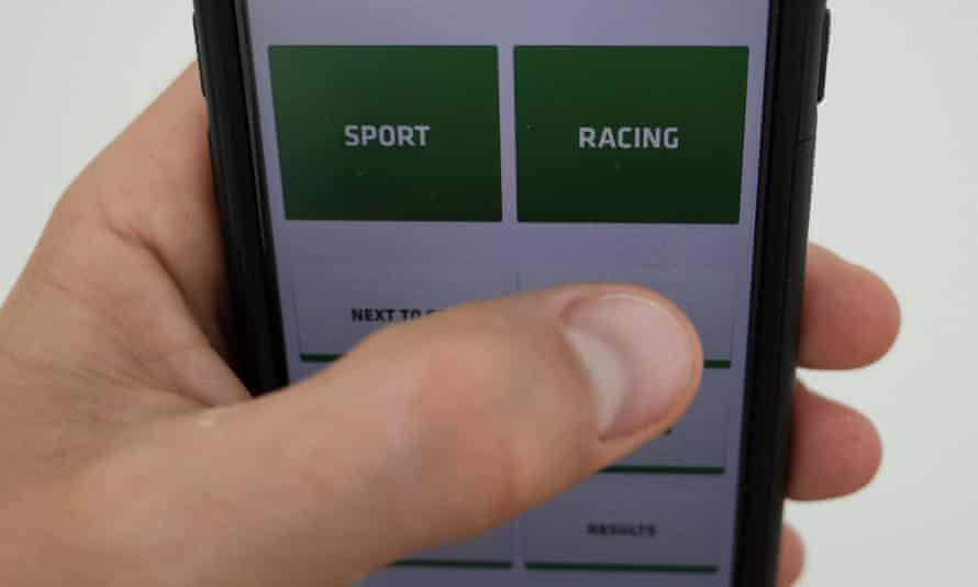 An online betting app on an iPhone
