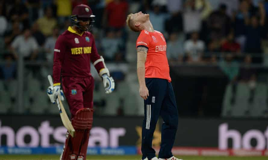 England struggled badly bowling with a wet ball under lights. Here, Ben Stokes reacts after Gayle hits him for one of his 11 sixes.