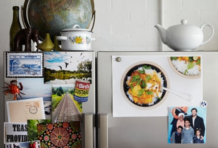 Nadiya Hussain's Taste of Home: pictures and memories pinned to a board.