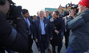 National media mob Jeremy Corbyn in Stoke-on-Trent after Labour wins the byelection, 24 February 2017.