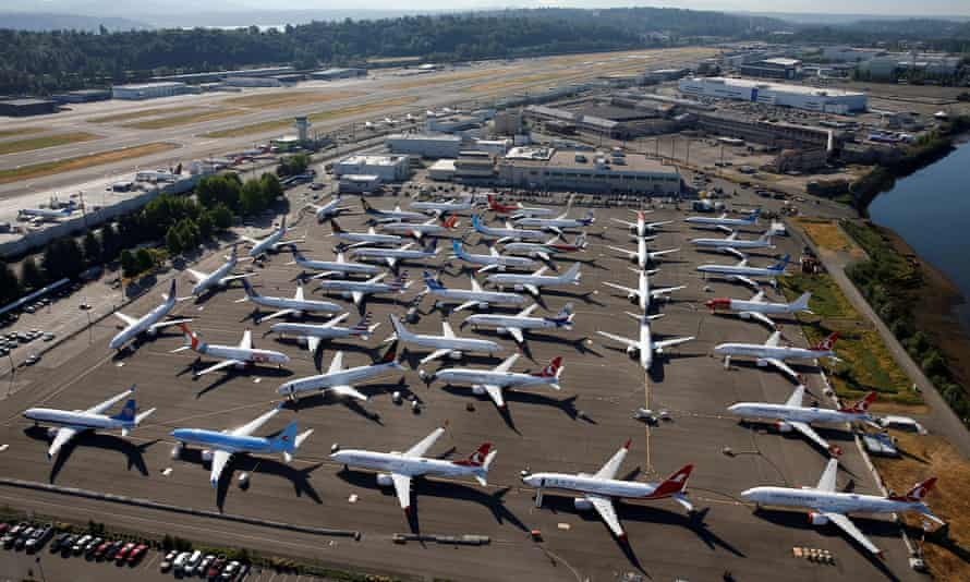 Grounded Boeing 737 Max aircraft are seen parked at Boeing Field in Seattle in July.