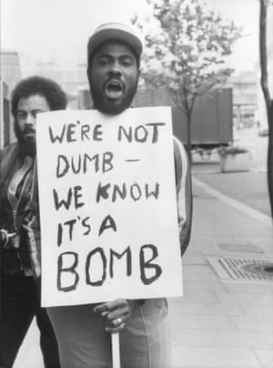 Protesters outside County Hall on 21st April 1981, as the inquest opens into the 13 Black people killed in the January1981 fire in Deptford, South London. The fire aroused anger within the local community and beyond, with allegations of a police cover-up of a racial attack.
