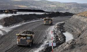 Opencast coal mine, Wales