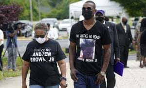 People arrive for the funeral for Andrew Brown Jr in Elizabeth City,North Carolina.
