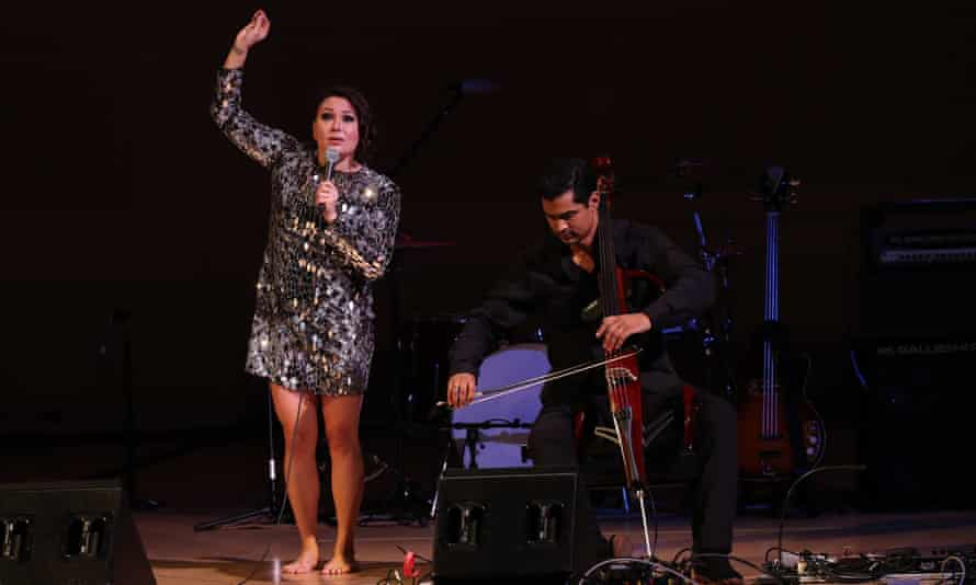 Tanya Tagaq and Jeffrey Zeigler perform at the Pathway to Paris Concert for Climate Action at Carnegie Hall in New York, New York on 5 November 2017.