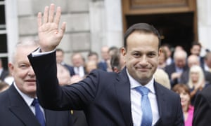 Leo Varadkar waves after being elected Ireland's new taoiseach.