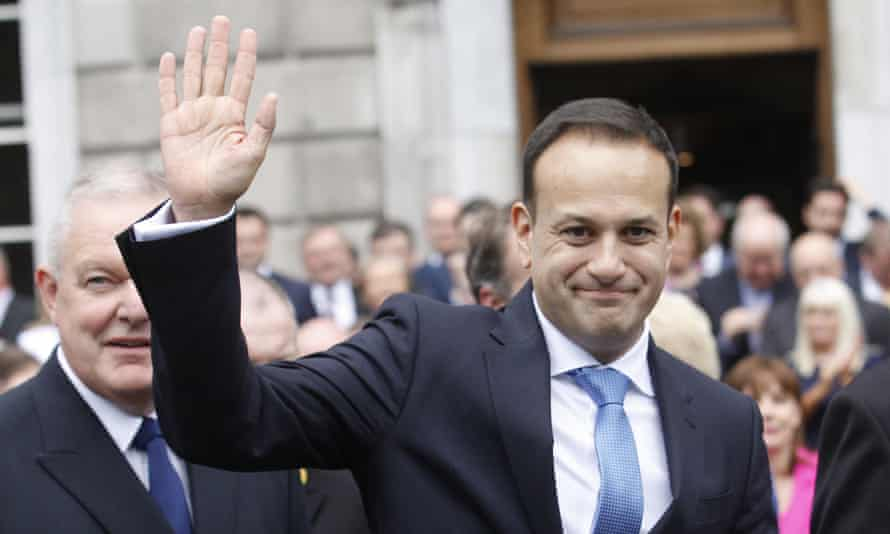 Leo Varadkar waves after being elected Ireland's new taoiseach.