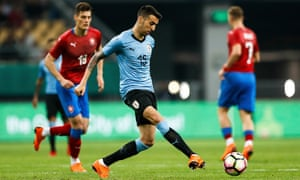 Matías Vecino, in action here for Uruguay against the Czech Republic, would travel 50km to training as a boy.