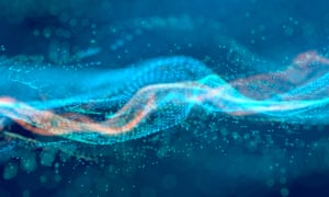 Abstract glowing wave of connected particles on a blue background