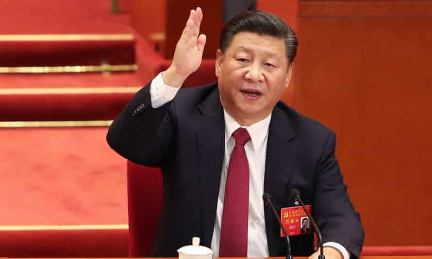 The Chinese president, Xi Jinping, at the closing of the 19th Communist Party Congress in Beijing