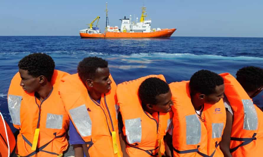 Migrants being rescued by the NGO's rescue ship 'Aquarius' in the Mediterranean in August.