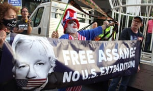 Demonstrators protest in defence of Julian Assange outside the Old Bailey in London