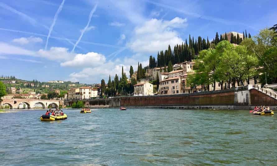 Rafting on the Adige river, Verona, Italy.