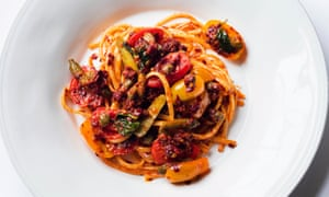 Full of flavour: linguine with nduja and tomatoes.