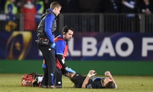 b49bfe2cbf1 Rhys Priestland receives treatment after being injured for Bath in their  Champions Cup defeat by Scarlets. Photograph: Evans/Huw  Evans/REX/Shutterstock