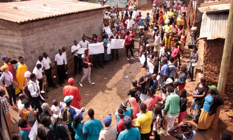 Women and men from different parts of Kibera gathered at the DC camp in Kibera early morning and peacefully marched through the streets