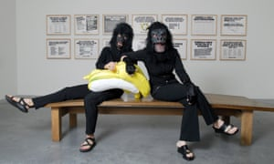 Two of the Guerrilla Girls pose at a Tate Modern exhibition in 2006