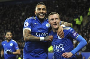 Vardy celebrates with Danny Simpson.