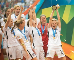 USA's Megan Rapinoe hoists the World Cup high after victory in 2015
