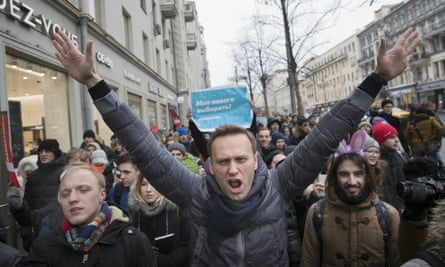 Alexei Navalny attends a rally in Moscow