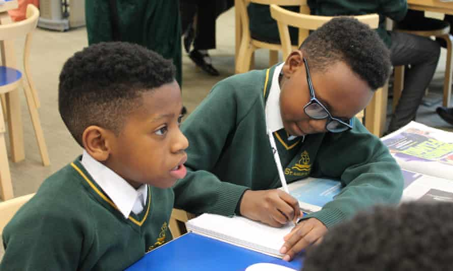 Primary pupils research their news stories at the Guardian Education Centre