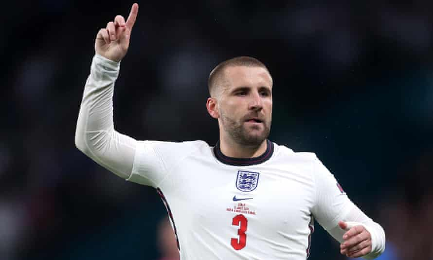 Luke Shaw in action for England during the Euro 2020 final against Italy.