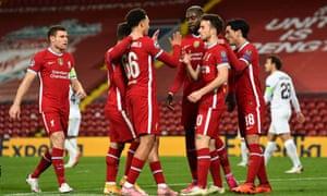 Diogo celebrates with his Liverpool teammates.