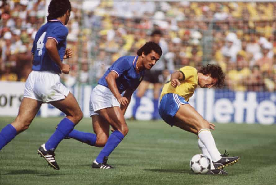Brazil's Zico turns on the skill to get the better of Italy's Claudio Gentile