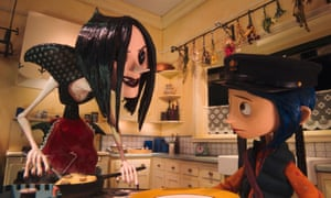 Other Mother (voiced by Teri Hatcher) and Coraline (voiced by Dakota Fanning) in the film version.