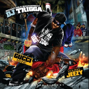 DJ Trigga - Gucci Mane vs Young Jeezy – Design by Miami Kaos. Miami Kaos is the only one that illustrates his covers, allowing him to fully control the image. In this one we see Young Jeezy battering Gucci Mane and stealing his 10 17 Bricksquad chain, a scene that have real life application as Jeezy issued a reward of 10000 dollars for the one that could steal this chain. Some people tried and failed, resulting in the death of one of the robbers