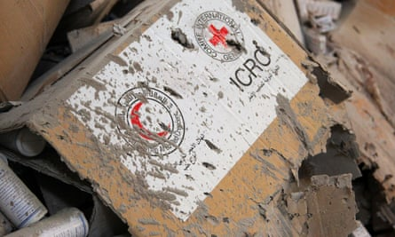 Damaged medical supplies that were being taken to besieged areas near Aleppo.