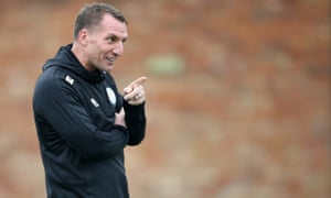 Brendan Rodgers during a Leicester City training session on 1 March.