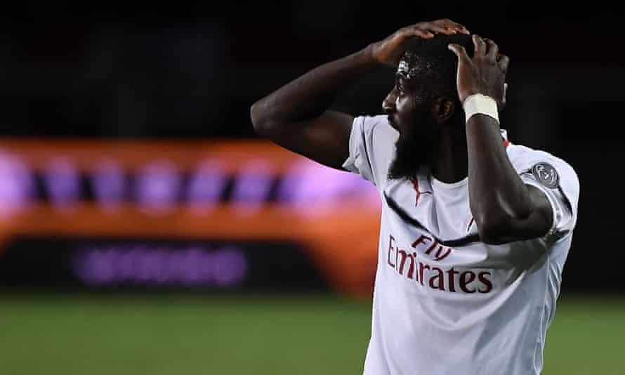 Tiemoué Bakayoko reacts after his header hits the bar.