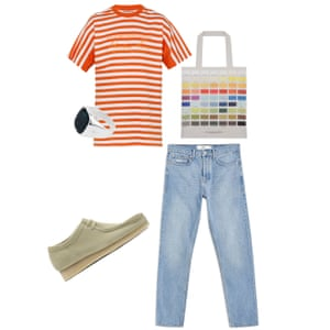 A trip to the galleryT-shirt, £180, Martine Rose brownsfashion.com, Tote, £15, Dorothy x Tate tate.org.uk, Ring, £189, phiralondon.com, Jeans, £39, topman.com, Shoes, £110, clarks.co.uk
