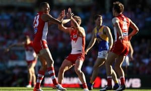 Buddy Franklin celebrates after scoring one of his three first half goals.