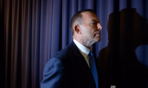 Tony Abbott during a press conference in the Blue Room