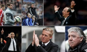 Clockwise from top left: Newcastle's John Carver, Chelsea's Guus Hiddink and Rafa Benítez, Newcastle's Joe Kinnear, Swansea's Garry Monk and Chelsea's Roberto Di Matteo.