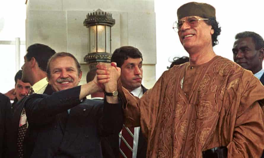 Bouteflika and Libyan leader Muammar Gaddafi in 1999.