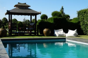 outdoor pool and pagoda at The Barn at Sopps Farm, West Tytherley, Wiltshire