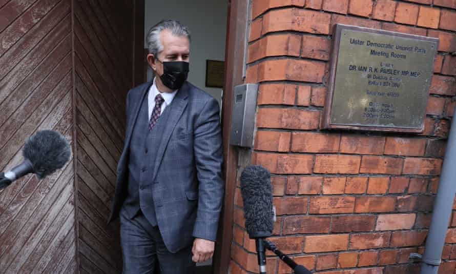 Edwin Poots leaves the DUP headquarters in Belfast on Thursday evening.