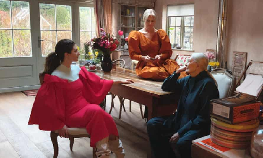 Roksanda Ilincic's new collection worn, from left, by Daisy Bevan, Joely Richardson and Vanessa Redgrave.