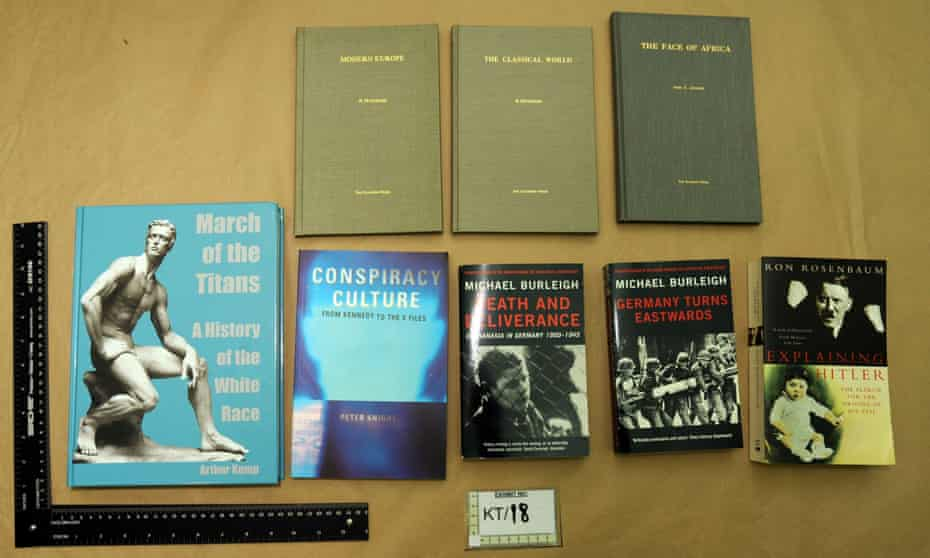 Books found by police in the home of Thomas Mair